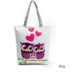 Owl Printed Women s Tote Canvas Shoulder Beach Bag a3ad7cef255d
