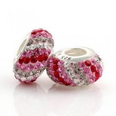 Silver Red Pink White Scroll Bar Crystal Bead