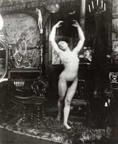 Alphonse Marie Mucha. Ballet study, model dancing nude in Mucha's studio rue du Val de Grâce 1901