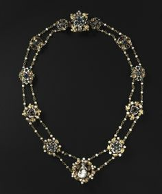 Twelve Medallions Mounted as a Necklace, c. 1400  France, Paris  enameled gold, precious stones, and pearls; some later additions with modern chain