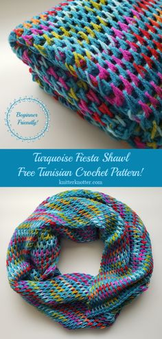 Turquoise Fiesta Shawl - Free pattern! - KnitterKnotter