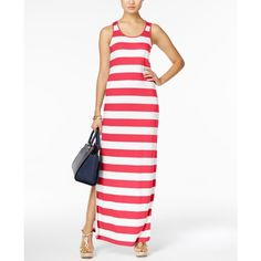 Michael Michael Kors Striped Maxi Dress ($73) ❤ liked on Polyvore featuring dresses, sangria, stripe maxi dress, maxi dresses, michael kors dresses, white dress and white maxi dress