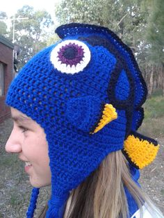 'Dory' Inspired Beanie/Hat. Project info here; http://www.ravelry.com/projects/LindaDavie/dory-inspired-beanie-hat