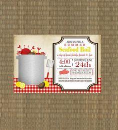 Items similar to Printable Seafood Boil Invitation - Shrimp Crawfish Crab Boil Invitation - Summer Invitation on Etsy Shrimp Boil Party, Shrimp And Crab Boil, Crab Party, Crawfish Party, Seafood Party, Lobster Fest, Lobster Boil, Seafood Broil, Crab Feast