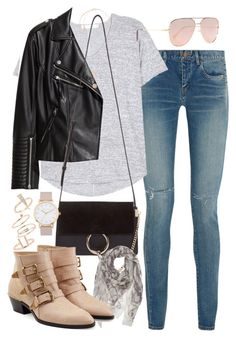 """""""Outfit for a casual day in autumn"""" by ferned on Polyvore featuring Yves Saint Laurent, rag & bone, H&M, Quay, Chloé, Alexander McQueen, Topshop, Michael Kors and The Horse"""