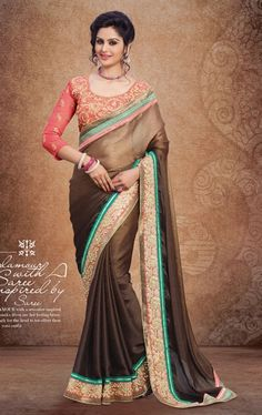 Picture of Gleaming Shaded Brown Designer Saree