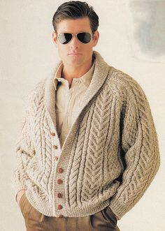 Men's hand knit cardigan 35A