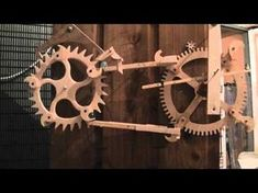 Wood Gear Clock Remontoire - YouTube Fine Woodworking, Woodworking Diy Gifts, Antique Woodworking Tools, Woodworking Basics, Cool Woodworking Projects, Router Woodworking, Woodworking Patterns, Woodworking Workshop, Woodworking Techniques