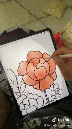 Digital Painting Tutorials, Digital Art Tutorial, Art Tutorials, Watercolor Brushes, Watercolor Flowers, Watercolor Paintings, App Drawings, Art Drawings Sketches Simple, Autodesk Sketchbook Tutorial