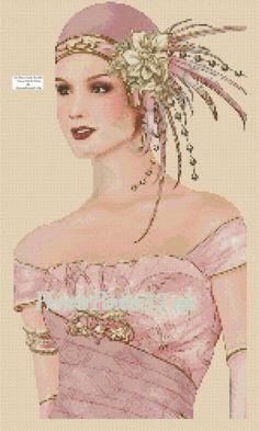 Cross Stitch Chart Art Deco Lady No 102 | eBay