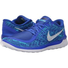 Nike Free 5.0 Print (Racer Blue/Gamma Blue/White/Reflective Silver)... ($61) ❤ liked on Polyvore featuring men's fashion, men's shoes, men's athletic shoes, blue, nike mens athletic shoes, mens running shoes, mens low tops and mens white running shoes