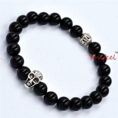 Wholesale 10pcs/lot A Grade Natural Black Agate Beads Antique Skull Elastic Bracelets New Brand Men's Beaded Jewelry