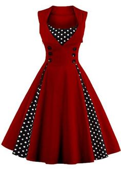 Vintage Sleeveless Red Dot Print Swing Party Dress