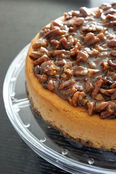 pumpkin cheesecake w/ pecan praline topping and gingersnap crust. would be good even without the pumpkin. perhaps a layer of caramel between the plain cheesecake and praline topping- though the texture would have to be just right. Just Desserts, Delicious Desserts, Yummy Treats, Sweet Treats, Dessert Recipes, Yummy Food, Pumpkin Recipes, Fall Recipes, Holiday Recipes