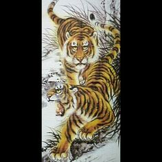 Antiques Very Fine Old Chinese Silk Scroll Painting Resting Tiger Excellent Vases