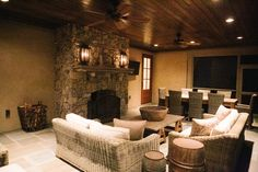 No better place to spend those Summer nights than a screened in porch. A GREAT space to entertain a crowd with plenty of seating. The stone fireplace makes this room usable almost year round. Love the gorgeous wood ceilings as well.