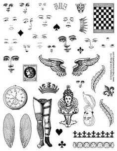 Fairy queen paper art doll collage rubber stamps with a variety of inch faces wings $22.99