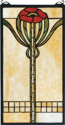 Parker Poppy Window Windows. A single bungalow red poppy with moss green leaves adorns this cornerstone beige meyda tiffany original stained glass window, inspired by the arts and crafts movement. An american classic design ready to complement your home. A solid brass hanging chain and brackets are included. #poppy #stainedglass #window
