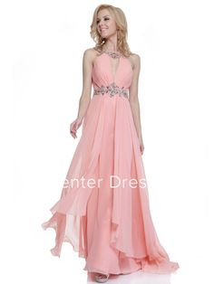 A-Line Long Scoop-Neck Sleeveless Chiffon Straps Dress With Ruching And Beading