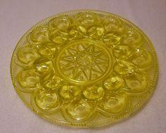 vaseline glass egg plate