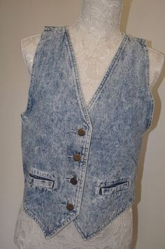 Vintage Ladies Denim Waistcoat Retro Hippie boho size M 12 rock Sleeveless jean  | eBay