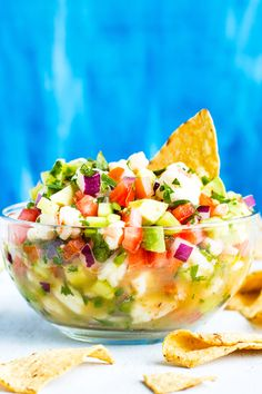 Mexican Shrimp Ceviche with Avocado is a refreshing low-carb, gluten-free, dairy-free, sugar-free, Paleo, and Whole30 appetizer recipe for these warmer months! Serve it with tortilla chips, on top of your favorite chicken dish, or eat it by the spoonful for lunch or dinner!