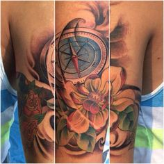 This tattoo work has been shaded lightly with a few colours as requested. #compass #asianstyle  By BB Gun