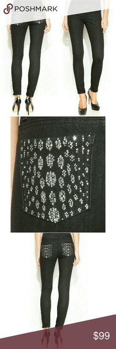 New! MICHAEL KORS Studded Black Skinny Jeans NWT Elevate your denim look with MICHAEL?Michael?Kors'?skinnies, featuring a black wash and a curve-hugging fit. Leopard-patterned studs on the back pockets add a touch of glamour!  Low rise: waistband sits at hips Skinny fit through hips and thighs Skinny leg Front zipper fly with button closure; belt loops Classic five-pocket styling Rhinestone embellishments at seat pockets Black wash Approximate inseam: 30 inches Cotton/spandex. Hand wash…