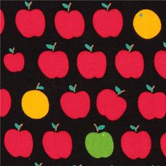 black fruit apple orange cotton fabric from Japan 2