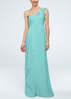 Delicate and stylish, this feminine crinkle chiffon bridesmaid dress was designed with ethereal beauty in mind!  One shoulder bodice featurescascading detailing on bust.  Front cascading accentcreates movement while leg slit adds drama for a flawless finish.  Fully lined. Back zip. Imported polyester. Dry clean. To protect your dress, try our Non Woven Garment Bag.