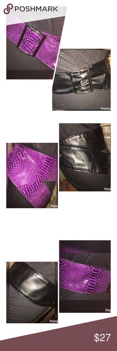 """NEW STEVE MADDEN REVERSIBLE BELT PURPLE OR BLK M/L THIS GORGEOUS BELT CAN BE WORN WITH PURPLE SNAKESKIN LOOK OR THE BLACK SOFT SIDE!!  STAINLESS STEEL BUCKLE!! THIS IS A REVERSIBLE BELT AND GORGEOUS!!!! RETAIL TAG $38!!!  MEASUREMENTS  LENGTH-43"""" TO THE TIP WIDTH-3"""" Steve Madden Accessories Belts"""