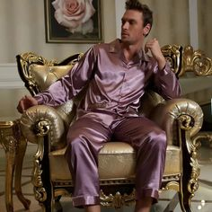 2015 New Purple Full Sleeve Men Pajama Sets Imitation Silk Sleepwear Button Turn  Down Collar Pijamas 0f9312156