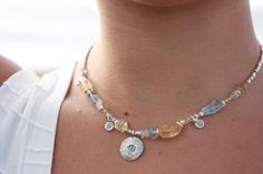 Citrine  Aquamarine Necklace with Thai Hill by JunoStoneAndSilver