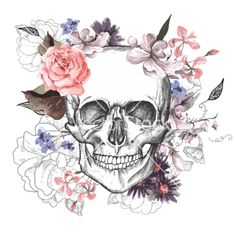 Skull and flowers day of the dead vector art on We Heart It