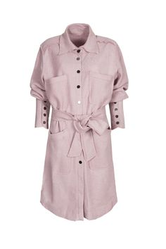 Moxos, For three of us, pastel pink coat. To download high or low resolution product images view Mondrianista.com (editorial use only).