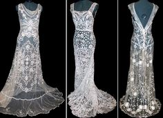 Lace overlays, would have been worn over, say, a silk charmeuse foundation gown (probably lined with China silk).  These are undated vintage pieces.