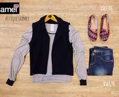 Um amor para vestir, um amor para ser. ❤ #lojaamei #etiquetaamei #colete #jeans #alpargata #promo