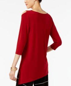 Alfani Cold-Shoulder Asymmetrical Top, Created for Macy's - Purple XXL