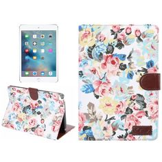 Peony Pattern Denim Texture Leather Case with Card Slots & Holder & Wallet & Sleep / Wake-up Function for iPad mini 4