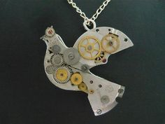 *** HAND MADE STEAMPUNK UNIQUE Dove Bird Pendant With Vintage Watch Parts ***