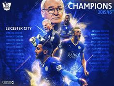 Hailed as the biggest upset in the history of British sport. Leicester City a shot to win the Premier League are champions with two games to spare. Premier League Winners, Premier League Champions, Leicester City Fc Wallpaper, Leicester City Football, Barclay Premier League, English Premier League, Arsenal, Champs, Names