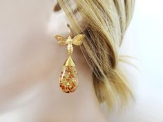Beautiful Honey Bee Amber Drop Earrings Natural Amber by Solistar, $25.00