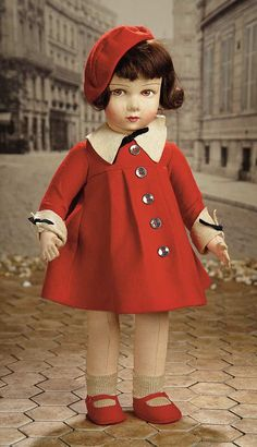 """""""Fascination"""" - Sunday, January 304 French Felt Stylish Doll in Red Felt Costume and Original Box by Reynal"""