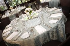 Table linen from Table Art. Sage Pucker overlays, Ivory stripe napkins.  www.tableart.com.au