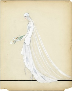 Look at these gorgeous sketches (art in their own right) from the Housed in the Department of Special Collections at FIT, these are scans of original wedding gown sketches, housed in the the FIT archives 'Lucile, Lady Duff Gordon' collection. 1920s Wedding Gown, Art Deco Wedding Dress, Wedding Dress Sketches, Wedding Dresses, Bridal Gowns, Moda Art Deco, Art Nouveau, Art Deco Illustration, Wedding Illustration