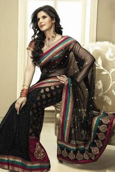 Zarine Khan in Half Georgette Half Chanderi with Net Pallu in this exciting Brijraj series - bollywoodshaadis.com