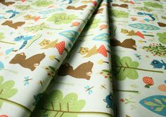 Riley Blake Woodland tails Bear Green C2773