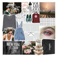 """""""have you ever thought of calling when you've had a few?"""" by roxymarie ❤ liked on Polyvore featuring Chanel, Fjällräven, Converse, Mamas & Papas and INC International Concepts"""