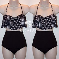 Black Polka Dots Flounce Halter High Waist Bikini from Koala-T Fashion