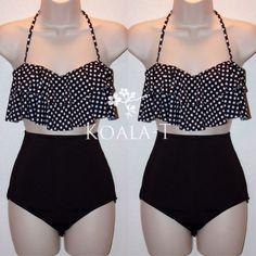 Black Polka Dots Flounce Halter High Waist Bikini from Koala-T Fashion